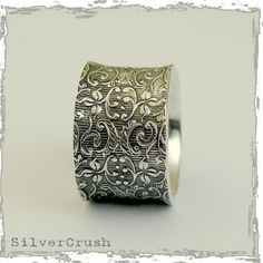 Matching Wedding bands - Sterling silver filigree UNISEX band - Our life together. $106.00, via Etsy.