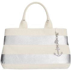 Tommy Hilfiger Jolene Metallic Rugby Stripe Shopper Tote (1.104.905 IDR) ❤ liked on Polyvore featuring bags, handbags, tote bags, silver, stripe tote, white shopping bags, tommy hilfiger handbags, shopping bag and silver tote