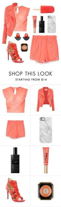 """""""Coral Bi*ch"""" by sillyshiny ❤ liked on Polyvore featuring River Island, Uncommon, Alaïa, Too Faced Cosmetics, Marciano, Été Swim, House of Harlow 1960 and DENAIVE"""