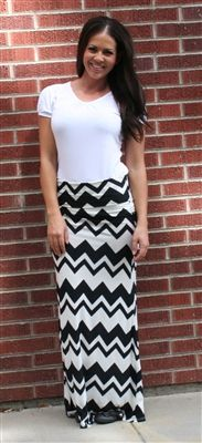 Double Take Black and White Chevron Maxi | Maxi Dress | Modest Maxi Skirt