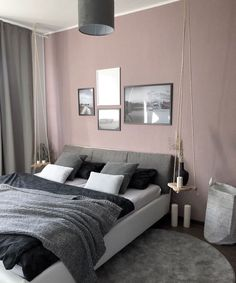 Image may contain: bedroom and indoor Master Bedroom, Bedroom Decor, Men Bedroom, Pink Gray Bedroom, Interior Design Website, Wall Colors, Ideal Home, Grey And White, Sweet Home