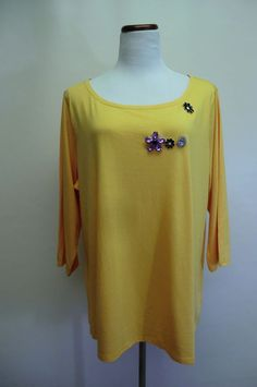 NEW ISAAC MIZRAHI LIVE YELLOW COTTON BLEND EMBELLISHED TEE TOP 2X #IsaacMizrahi #KnitTop #any