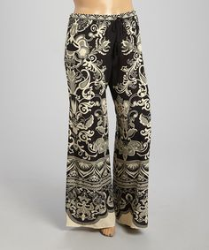 Look at this #zulilyfind! Black & Khaki Art Nouveau Palazzo Pants - Plus by Flying Tomato #zulilyfinds
