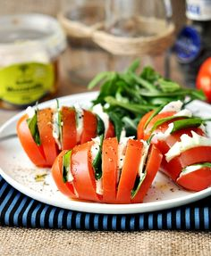 Caprese Salad ... I can't wait to make these for breakfast via Fuss Free Cooking (http://www.fussfreecooking.com/meatless-recipes/hasselback-caprese-salad/)