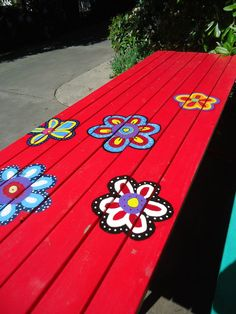 painting a unique picnic table, painted furniture, Time to complete this table picnic table ideas Painting a Unique Picnic Table Painted Picnic Tables, Kids Picnic Table, Painted Benches, Picnic Table Paint, Picnic Baskets, Picnic Ideas, Red Wood Paint, Painting On Wood, Funky Painted Furniture