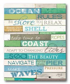 This 'Ocean Rules' Gallery-Wrapped Canvas is perfect! #zulilyfinds