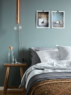Scandinavian Bedroom Design Scandinavian style is one of the most popular styles of interior design. Although it will work in any room, especially well . Bedroom Green, Bedroom Decor, Calm Bedroom, Bedroom Alcove, Bedroom Ideas, Blue Bedrooms, Bedroom Lighting, Bedroom Designs, Calming Bedroom Colors