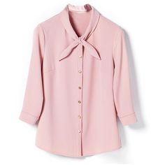 Pink Cross-over Collar Button Front Blouse (155 NZD) ❤ liked on Polyvore featuring tops, blouses, surplice top, button front top, cross over top, pink blouse and pink top