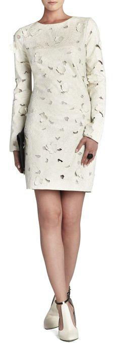 Jillea Embroidered Cutout Faux Leather Dress