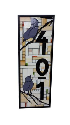 Custom House Number Stained Glass Mosaic Plaque with Decorative Elemen – Sequential Glass Art Mosaic