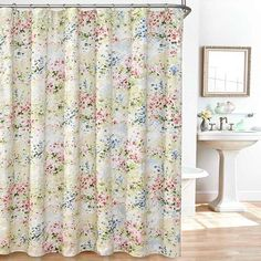 Shop for Giverny Fabric Plisse Shower Curtain Set. Get free delivery On EVERYTHING* Overstock - Your Online Shower Curtains & Accessories Store! Get in rewards with Club O! Luxury Shower Curtain, Funny Shower Curtains, Flower Shower Curtain, Floral Shower Curtains, Shower Curtain Hooks, Bathroom Curtains, Drapes Curtains, Curtain Material, Curtain Fabric