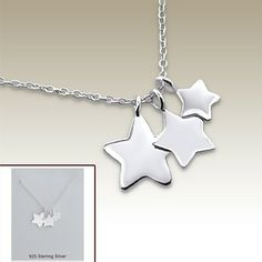 Silver necklace with star pendants incl. display card - 17075