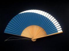 Japanese Hand Fan Marine Blue Silver Vintage by VintageFromJapan, $9.50