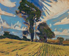 """""""Stubble,"""" James Edward Hervey (J.) MacDonald, oil on board, 8 x private collection. Tom Thomson, Emily Carr, Group Of Seven, Fine Art Auctions, Canadian Art, Oil, Landscape, Board, Paintings"""