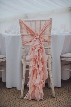Pink Ruffled Chair Covers For Romantic Pastel Pink Wedding At Dorton House With Bride In La Sposa And Images From Julia & You Photography Pink wedding inspiration and ideas for the alternative creative bride Wedding Chair Decorations, Wedding Chairs, Wedding Table, Wedding Chair Covers, Wedding Chair Sashes, Pink Decorations, Pink Wedding Centerpieces, Trendy Wedding, Diy Wedding