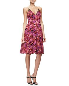 Floral+Jacquard+Fit-and-Flare+Dress,+Berry+by+Badgley+Mischka+at+Neiman+Marcus.