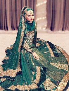 Beautiful Brides in hijab Dark green dress, Asian bridal couture, Muslim fashion Muslim Wedding Dresses, Muslim Brides, Wedding Hijab, Bridal Dresses, Bridal Gown, Muslim Fashion, Hijab Fashion, Bridal Hijab Styles, Beautiful Indian Brides