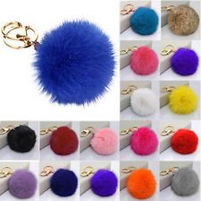 Women Fluffy Rabbit Fur Ball Key Chain PomPom Handbag Car Key Ring Charm