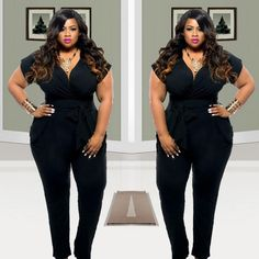 900d783ca130 Wholesale-2016 Plus Size Women Clothing Rompers Womens Jumpsuits Short  Sleeves Loose Black Full Length