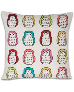 """Thro by Marlo Lorenz """"Hoot Owls"""" Embroidered Pillow"""