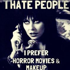 This is so me, all day everyday! Makeup & Horror Flicks  I actually do prefer Black & White movies, I love looking at the different genres of makeup, old humor, different eras, etc... #makeup #makeuppage #makeuptalk #blackandwhite #elvira #vintage #makeupfreak #love #blackheart #instamakeup #realtalk #penelope #losangeles