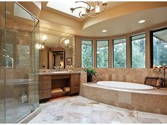 Warning: this bathroom may cause a state of intense relaxation. Check out those windows above the tub! It's from design DHSW077201 at Dream Home Source.