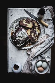... chocolate almond marble cake with butterscotch and hot fudge sauce ...