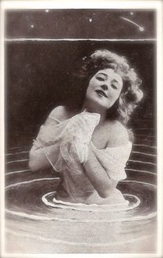 Anna Held Famous Edwardian Theatre Star Ziegfeld Follies Broadway Cabaret Glamour Fantasy as Lake Nymph Original Rare 1900s French Postcard