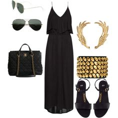 """Black Maxi"" by torim21 on Polyvore H Maxi Dress, H Sandals, Chanel Large Tote, H Earrings w/Earcuffs, Studded Bangle, Ray-Ban Original Gold Aviator Sunglasses"