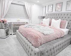 Teen Bedroom Designs, Bedroom Decor For Teen Girls, Room Ideas Bedroom, Home Decor Bedroom, Cute Bedroom Ideas For Teens, Bed Rooms, Stylish Bedroom, Fancy Bedroom, Silver Bedroom