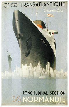 Transatlantic Liner Vintage Poster