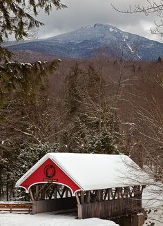 Covered bridge in New Hampshire, very pretty! Live this style covered bridge