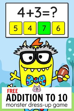 Practice addition to 10 using this engaging FREE Monster Dress-Up interact. Practice addition to 10 using this engaging FREE Monster Dress-Up interactive game! This fun - Computer Games For Kids, Math Games For Kids, Educational Games For Kids, Fun Math, Cat Games, Educational Software, Kids Math, Math Math, Kindergarten Math Games