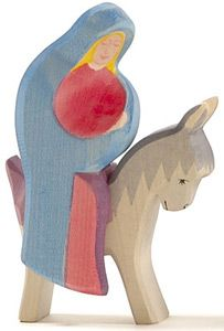Mary on Donkey == Nativity Set : We are not Christian, but celebrate Christmas, as the birth of Jesus is part of the whole winter holiday season, and I grew up with Christmas in my cultural history. I want Owen to be exposed to the idea at home.