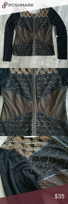 NWT Beautiful Buckle BKE Boutique Top Gorgeous  patchwork  lace detail on lined bodice. Sleeves  are super soft solid black fabric with  some stretch  to them.  Dressy enough for work,  perfect  with jeans! Buckle Tops