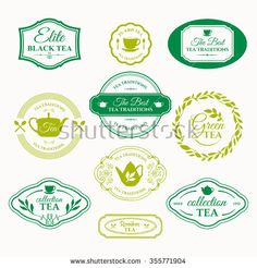 Vector Illustration with tea logo on white background. Simple symbols with cup and teapot. Traditions of tea time. Decorative elements for your design.