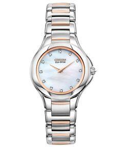 Citzen Watch, Women's Eco-Drive Signature Fiore Diamond Accent Two Tone Stainless Steel Bracelet 30mm EX1186-55D - Citizen - Jewelry & Watches - Macy's