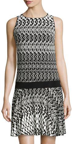 Donna Morgan Geo-Print Drop-Waist Dress, Black/White