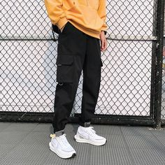 Best Men's Side Pockets Cargo Harem Pants 2020 Ribbons Black Hip Hop Casual Male Joggers Trousers Attention 1. This is Asian Size, it is 2-3 size smaller than EU/US size. If you wear EU/US size M,you can select our size XL or XXL 2. As measured by hand,1-3 cm difference is allowed (1cm=0.39inch). 3. Different computer can display different colors even if it is the same color.please allow reasonable color difference. 4.Normally we can send your order within 3 days after the payment, If not, pleas Fashion Casual, Fashion Pants, Men Style Casual, Asian Men Fashion, Trendy Mens Fashion, Style Men, Casual Street Style, Fashion Shoot, Fashion Outfits