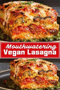 Best Vegan Lasagna! Voluptuous Roasted Vegetable Vegan Lasagna With Puttanesca Sauce. #vegan #veganrecipe #delicious