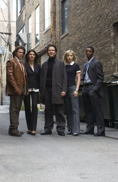 Christian Kane, Gina Bellman, Timothy Hutton, Beth Riesgraf and Aldis Hodge as characters in Leverage:  Eliot Spencer, Sophie Devereaux, Nathan Ford, Parker and Alec Hardison