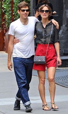 Keira Knightley working 50s style high waisted shorts and a polka dot shirt in New York