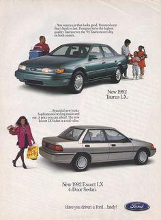 1992 Ford Taurus LX and Ford Escort LX