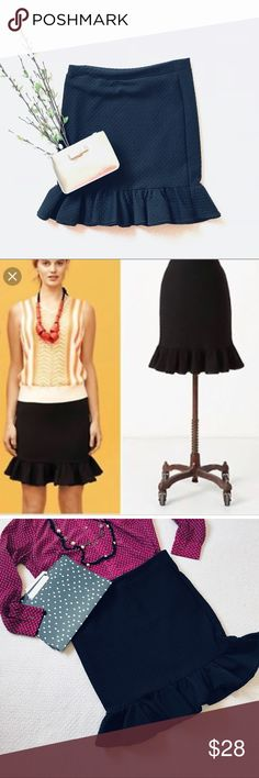 """Anthropologie Postmark Blk textured trumpet skirt Anthropologie Postmark Blk stretch textured trumpet skirt in EUC size. Pencil skirt with ruffle on bottom. Great staple piece for every wardrobe!! Pet and smoke free home. Approximate measurements are pictured above. Armpit to armpit- 17"""" Length- 21 3/4""""  Purse & shirt sold separately if still available  Necklaces not for sale. Used for styling inspiration. Anthropologie Skirts Pencil"""