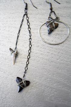 Asymmetrical Shark Tooth Earrings