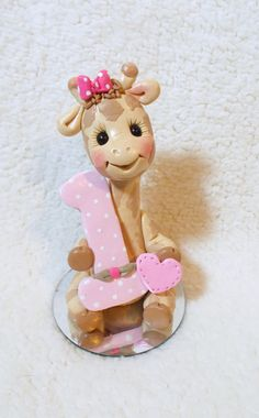giraffe birthday cake topper giraffe Christmas ornament by clayqts, $26.95