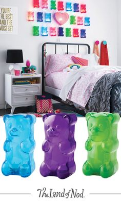 Colorful and playful Gummy Bear Nighlights make a better addition to your decor than all those actual gummies stuck inside your couch cushion. Dream Bedroom, Girls Bedroom, Bedroom Decor, Bedrooms, My New Room, My Room, Kids Lighting, Gummy Bears, Little Girl Rooms