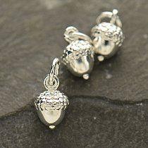 Tiny Silver Plated Bronze Acorn Charm