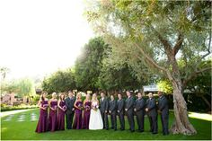 Love the purple bridesmaid dresses and grey suits. Phoenix Bride and Groom, Arizona Biltmore, Emily Snitzer Photography,Events by Showstoppers #purple #wedding #outdoor