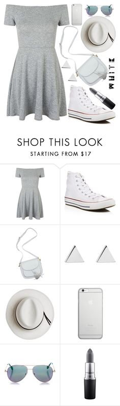 """White sneakers"" by fiovasquez1 ❤ liked on Polyvore featuring Topshop, Converse, Jennifer Meyer Jewelry, Calypso Private Label, Native Union, Cutler and Gross, MAC Cosmetics, polyvorecontest and whitesneakers"